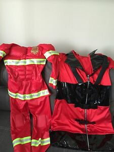 Mother and son firefighter costume