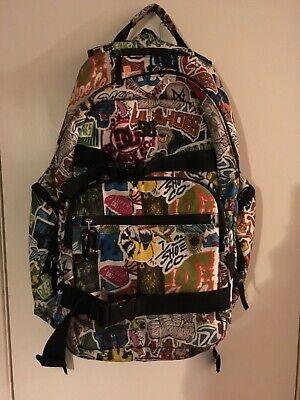 DC Shoe Co USA Canvas  Graffiti  Skateboard School Backpack Book Bag multi logo