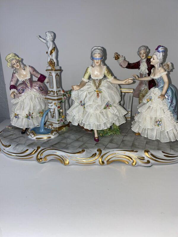 Antique Large Dresden Lace Capodimonte Blind Mans Bluff Figurine