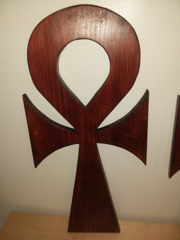 Home Decor Wood Carved African Egyptian Ankh Cross