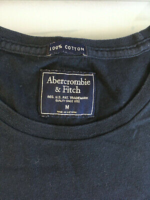 ABERCROMBIE & FITCH Dark Blue Cotton T Shirt Mens M