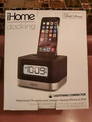 iHome (IPL8BN) Stereo FM Clock Radio with Lightning Dock for iPhone/iPod #M65