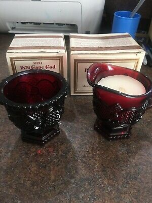 Vintage Avon Cape Cod Collection Ruby Red Creamer And Sugar Bowl