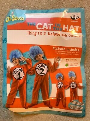 Thing 1 Halloween Costume Jumpsuit Dr Seuss Cat In The Hat M sz 8-10