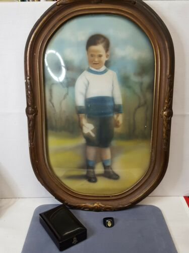 Antique Mourning Lot~Domed Glass Framed Boy/Celluloid Picture Ring/Enameled Box