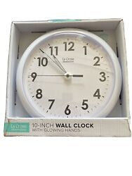 403-310 La Crosse Illuminations 10 Analog Wall Clock with Glowing Hands - White