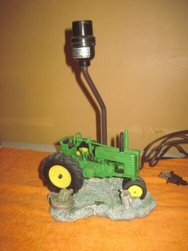 """John Deere Lamp with Resin or Plastic Tractor, base 7""""x7""""x5""""tall, No Shade,Works"""