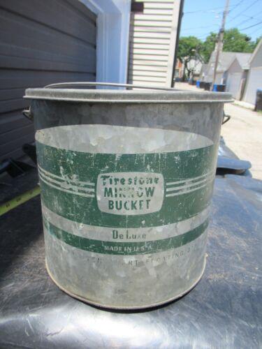 Antique Vintage Firestone Deluxe Galvanized Minnow Bucket