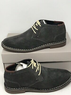 Men's Kenneth Cole Reaction Desert Sun Chukka Boots Gray Textile Leather Sz 9.5