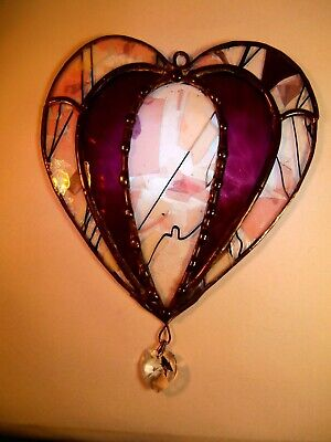 Stained Glass Heart Suncatcher with Hanging Crystal Heart