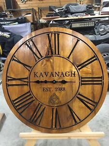 "Carved 29"" Diameter Personalised wooden Wall Clocks"