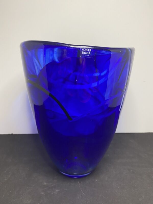 "Kosta Boda Cobalt Blue Contrast Vase Black White 8"""