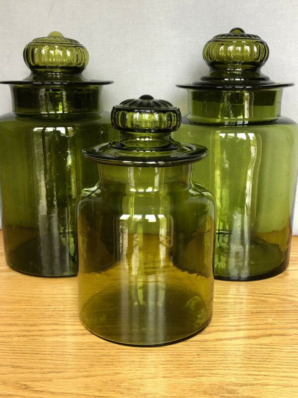 Vintage Green Blown Glass Apothecary Jar Canister Set of 3 - Pressed Daisy Lids