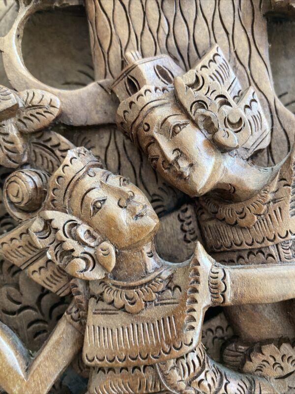 Hand Carved Balinese Relief Art Panel - Hindu Indonesian Figures