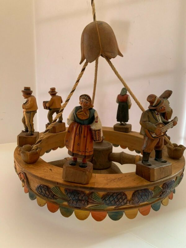 Antique Hand Carved Italian Pendant Lamp with Figurines