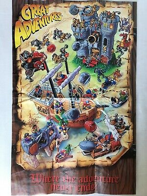 Fisher Price Great Adventures Poster Castle Pirate Ship ~ Slight Wear/Creasing