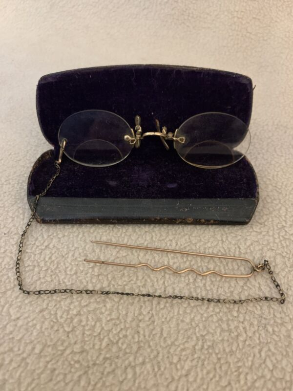 Antique Pince-Nez Eye Glasses with original Case