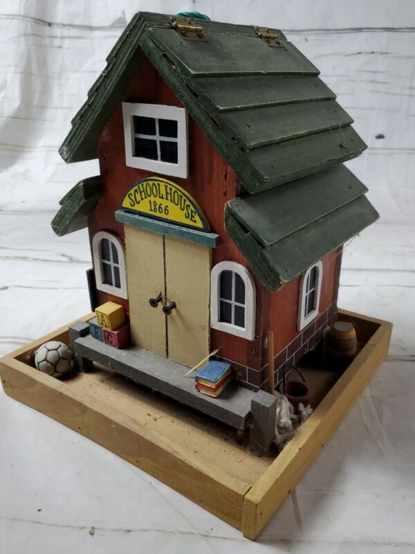 1866 Schoolhouse Decorative Wooden Bird House Open Top / Hang or Place