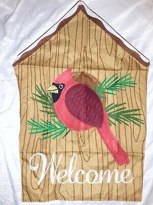 Cardinal Birdhouse Applique House Flag 28x40 Doubled Sided