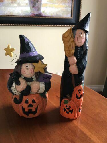 (2) Eddie Walker Halloween WITCH Figures 1998 Witch on Pumpkin & Witch w/broom