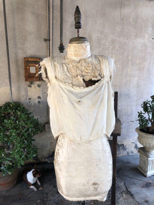 Antique Edwardian White Creamy Silk Camisole Blouse Top Silk Flowers Vintage