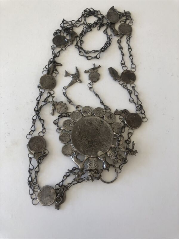 Vintage Guatemalan Chachal Coin Milagro Charms Peso Necklace 83gr AS IS