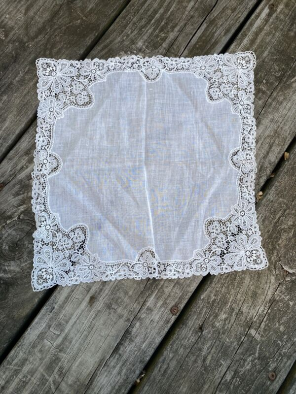 Handmade Antique Bridal Embroidered Handkerchief Hanky Floral
