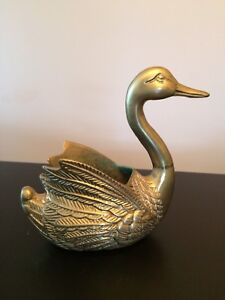 Brass Solid Swan Vintage Plant Holder Intricate Detail