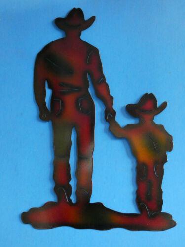 Western Cowboy & Lil Buckaroo Son Metal Wall Hanging Multicolor Country NEW H20