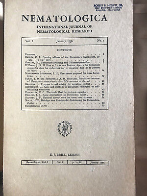 Nematologica International Journal of Nematological Research Brill 1956-1965