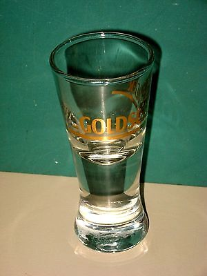 """GOLDSCHLAGER SHOOTER SHOT GLASS CLEAR GLASS WITH GOLD LETTERING 4"""" H EUC"""