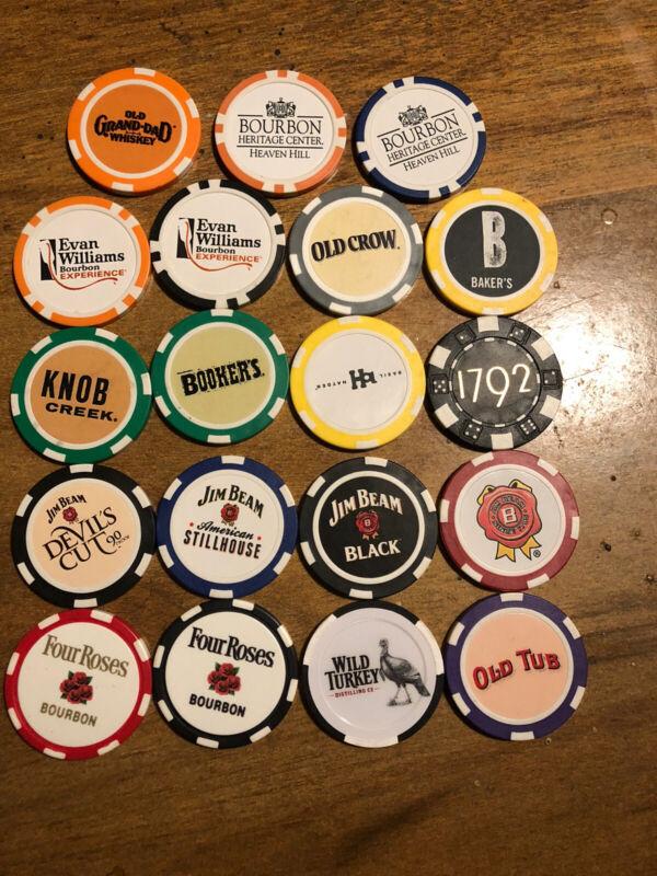 Lot (19) Bourbon Whiskey Poker Chips Four Roses Old Tub Grand Dad Wild Turkey Et
