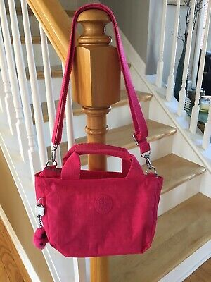 KIPLING PINK HAND/SHOULDER/CROSSBODY NYLON BAG WITH PINK BABY MONKEY EC
