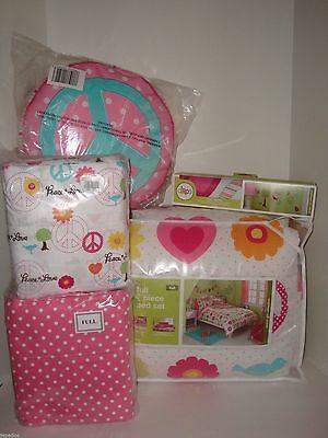 Circo Peace Girl 13PC FULL Comforter Shams Sheet Set Pillow Decal NIP Heart Bird on Lookza