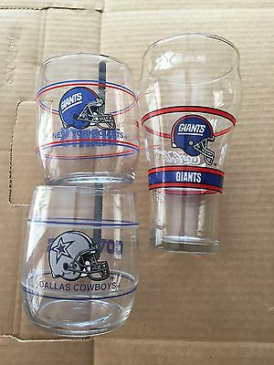 (3) Football glasses - (1) Giants Lg Coke glass,(1) Small Giants & Cowboys glass, used for sale  Phoenix