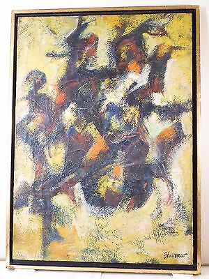 Vintage LYRICAL ABSTRACT EXPRESSIONIST OIL PAINTING MID CENTURY  Signed 1949