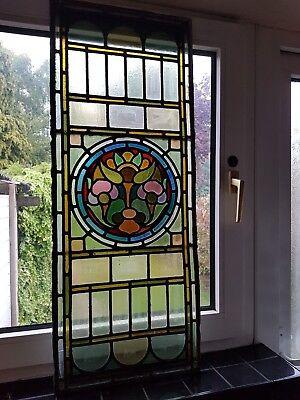 reclaimed antique 1800s Chapel Church stained leaded glass side window fan light