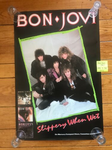 BON JOVI  -  Slippery When Wet  -  1986 promo poster 24 x 36  unused and NM USA
