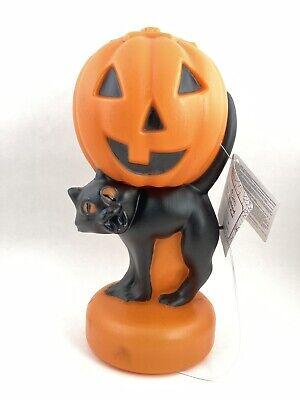 New Halloween Plastic Blow Mold Light Black Cat Pumpkin