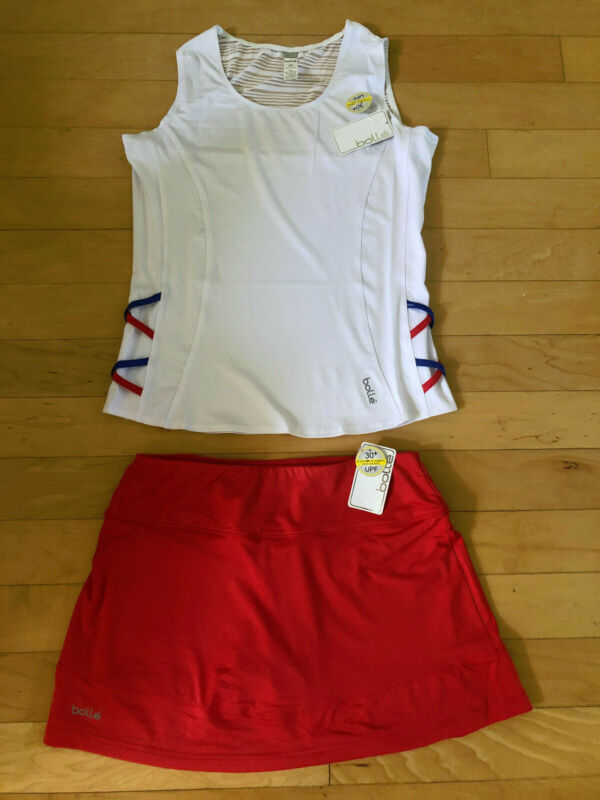 New Bolle Tennis White Top and Red Skirt 2pc Set Size M