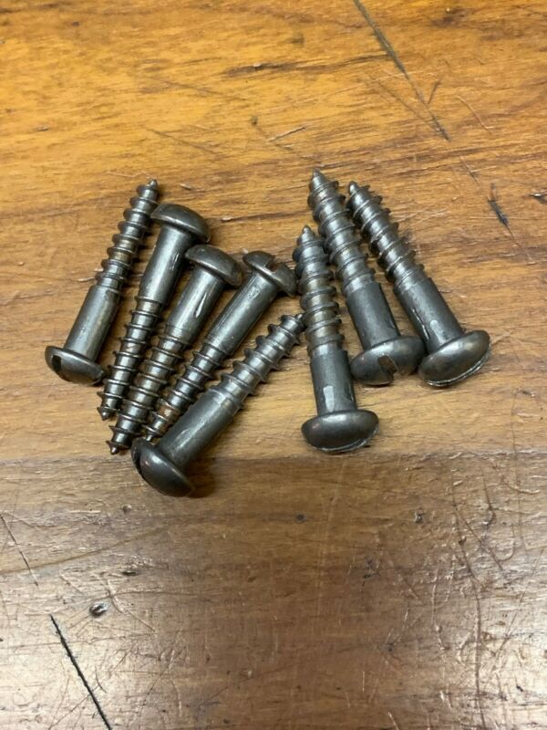 "Wood Screws Slotted Round Head Plain #8x 1"" & #10x1"""