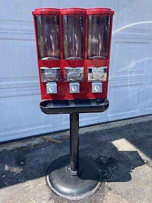 Triple Time Bulk Candy Vending Machine 3 Head Dispenser Metal 2 Candy 1 Gumball