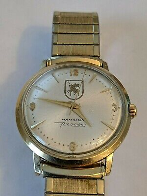FINE VINTAGE 1960's HAMILTON THIN-O-MATIC 10K GOLD MENS CHAMPION WATCH - RUNS