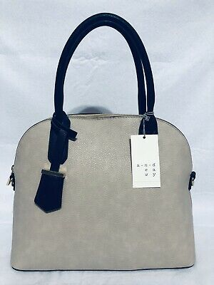 NEW A New Day Dome Satchel Handbag Purse Pebble Texture Mochaccino Strap