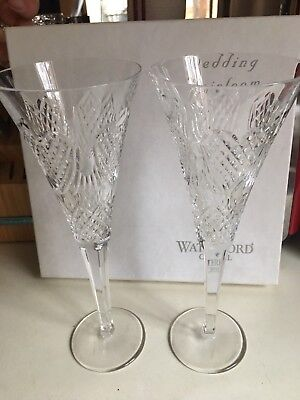 Toasting Flutes For Wedding (Waterford Crystal Wedding Heirloom Toasting Flutes Pair Retail for)