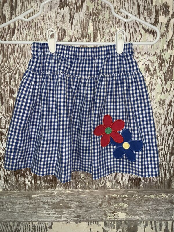 Kelly's Kids Girls Skirt Size 7-8 Blue And White Gingham Flower Appliqué Elastic