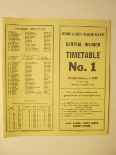 Chicago & North Western Time Table No. 1 Central Division Feb. 1, 1970