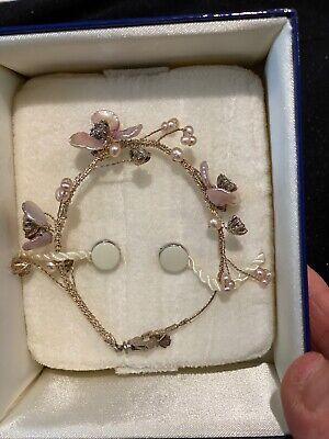 TACORI sterling & Mother Of Pearl topaz Crystals Flowers Faux Pearl Bracelet Flowers Mother Of Pearl Bracelet