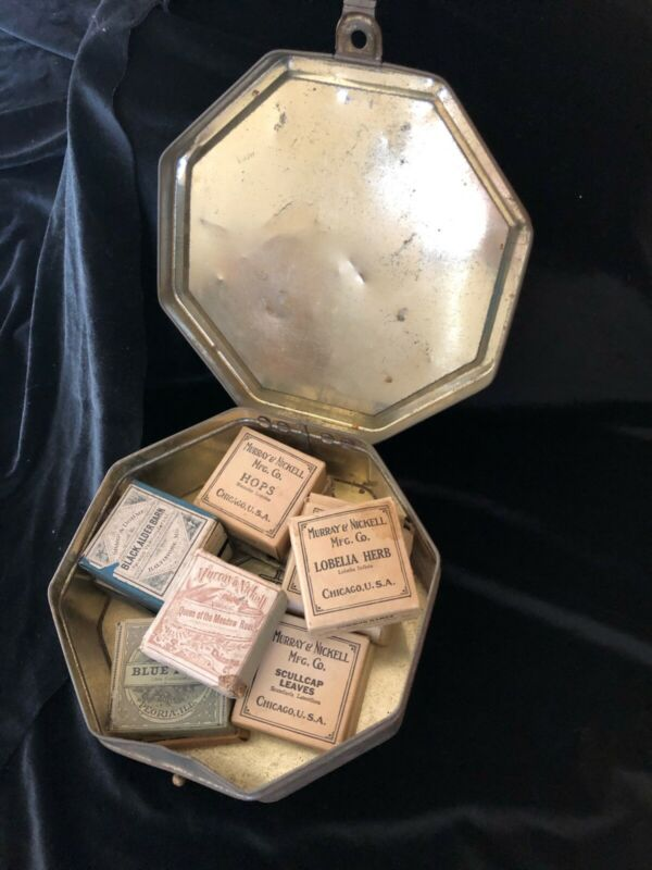 UNIQUE LOT OF EARLY 1900 VINTAGE APOTHECARY MEDICAL HERBS IN TIN CONTAINER