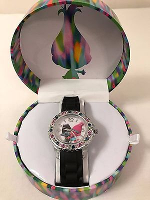Trolls Wrist Watch DreamWorks Black Silicon Band Colorful Stones New In Box